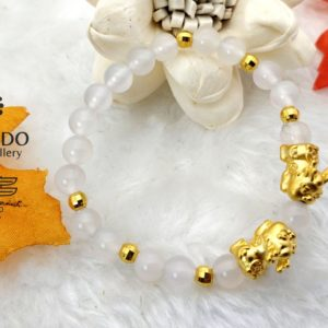 dd07f62d0 999 Pure GoldTwin Baby Pixiu and 6 Gold Ball Charms with White Agate -  Gorudo Jewellery
